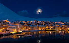 Preview wallpaper Night, city town, moon, mountains, snow, winter, house, lake, lights