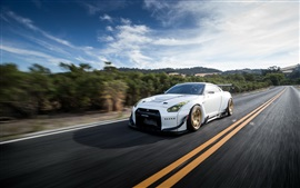 Preview wallpaper Nissan GT-R white car speed