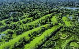 壁紙のプレビュー 公園、フィールド、池、木、ゴルフ