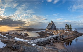 Preview wallpaper River, house, pier, clouds, dusk