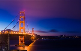 Aperçu fond d'écran San Francisco, Californie, Etats-Unis, Golden Gate Bridge, lumières, nuit