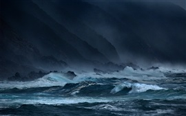 Preview wallpaper Sea, waves, storms, rocks, dark