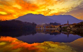 Sunset, sky, mountains, lake, city, water reflection