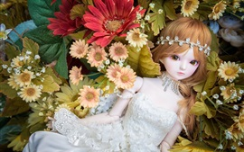 Toy girl, doll, flowers