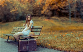 White dress girl, suitcase, wooden chair, flowers