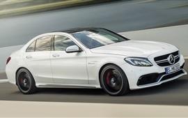 미리보기 배경 화면 2014 메르세데스 - 벤츠 AMG C63 흰색 자동차 속도