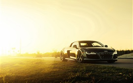 2015 Audi R8 V10 supercarro preto no por do sol
