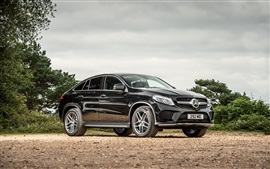 Preview wallpaper 2015 Mercedes-Benz GLE 4MATIC UK-spec C292 black car
