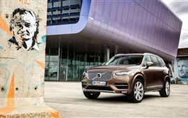 Preview wallpaper 2015 Volvo XC90 D5 brown car