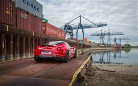壁紙のプレビュー 2015ツェンダーアルファロメオ4C赤いスーパーカー、背面図、桟橋