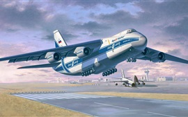 Preview wallpaper Antonov An-124-100 Ruslan, heavy long-range transport aircraft, art drawing