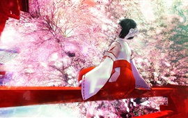 Preview wallpaper Art painting, Japanese girl, garden, spring, cherry flowers