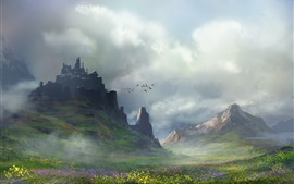 Preview wallpaper Art painting, landscape, flowers, mountains, birds, clouds