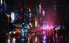 Art painting, night, city, street lights