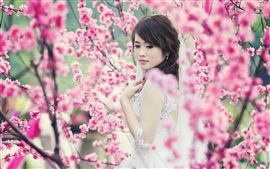 Asian girl, garden, spring, pink flowers