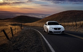 BMW M235i white car, road, hills