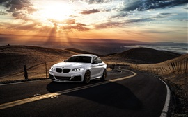 Preview wallpaper BMW M235i white car, sunset, clouds, road
