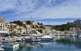 Preview wallpaper Balearic Islands, Spain, port, bay, boats, houses