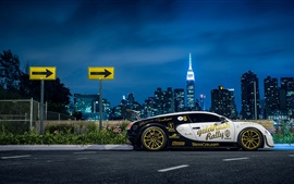 Preview wallpaper Bugatti Veyron supercar side view, New York, city, night, lights