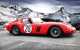 Ferrari 250 GTO classic red car, mountains, snow