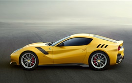 Preview wallpaper Ferrari F12 yellow supercar side view