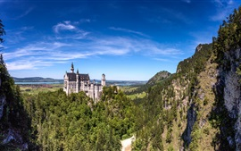 Preview wallpaper Germany, Bavaria, Neuschwanstein castle, mountains, trees, blue sky