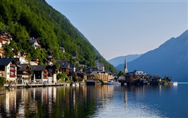 Preview wallpaper Hallstatt, Alps, lake, mountain, houses
