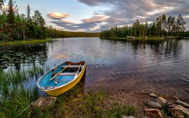 Preview wallpaper Hedmark Fylke, Norway, forest, river, boat, rocks, trees, clouds