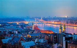 Hungary, Budapest, city, night, houses, river, bridge, lights