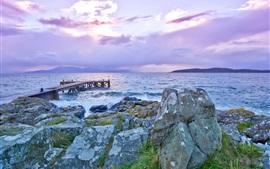 Lake, pier, rocks, dawn, sea