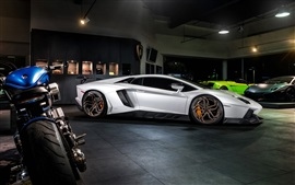 Preview wallpaper Lamborghini Aventador LP700-4 white supercar, night