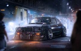 Mazda RX-3 black car, night, city