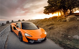 Preview wallpaper McLaren 570S orange supercar, road