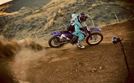 Preview wallpaper Motocross, pilot, dust, extreme sports