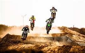 Preview wallpaper Motocross race, jump, dust, desert