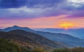 Montanhas, céu, nuvens, nascer do sol, manhã, alvorecer