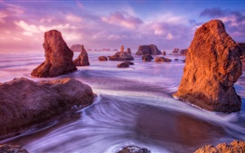 Preview wallpaper Nature landscape, rocks, water, sea, spray, sky