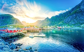 Norway, Lofoten, lake, mountains, gorge, sunrise, town, houses, pier, boat