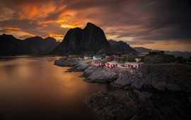 Preview wallpaper Norway, sky, clouds, sunset, sea, mountain, village, house