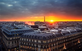 Preview wallpaper Paris, France, evening, sunset, house, tower