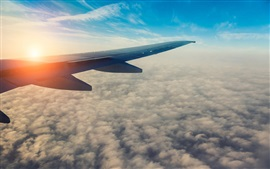 Preview wallpaper Passenger airplane, aircraft wing, sun, sky, clouds