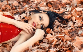 Preview wallpaper Perfect autumn, girl, makeup, leaves
