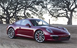 Preview wallpaper Porsche 911 supercar, red color