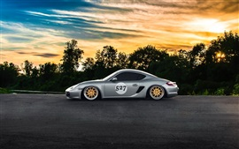 Preview wallpaper Porsche Cayman silver supercar, side view