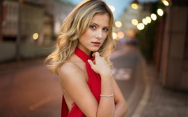 Red dress blonde girl, street, lights