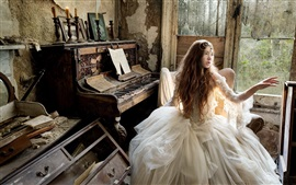 Retro style, girl, piano, music, old house