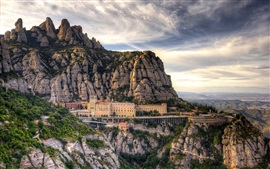Spain, Barcelona, mountains, Santa Maria de Montserrat, house, clouds