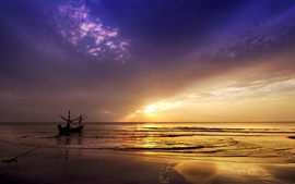 Sunset, sea, boat, nature landscape