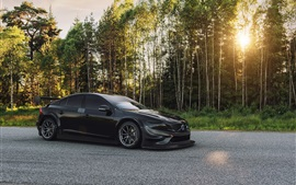 Preview wallpaper 2016 Volvo S60 Polestar black car, forest, sun