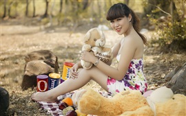 Preview wallpaper Asian girl, bear toys, summer